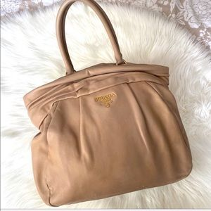 PRADA • Authentic Large Leather Light Brown Bag